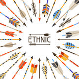 Ethnic background with indian arrows in native Stock Photography