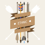 Ethnic background with indian arrows in native Royalty Free Stock Photo