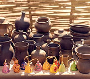 Ethnic background texture, art. Exposition of jugs Stock Photos