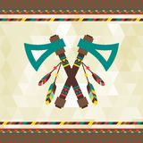 Ethnic background with tomahawk in navajo design Royalty Free Stock Images