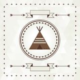 Ethnic background with wigwam in navajo design Stock Photo