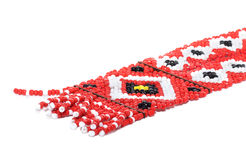 Ethnic beaded jewelry   isolated. Ethnic red beaded jewelry   isolated Royalty Free Stock Images