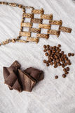 Ethnic beads, coffee beans an Royalty Free Stock Photo