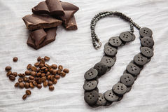 Ethnic beads, coffee beans an Stock Photos
