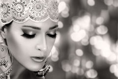 Ethnic Beauty Fashion. Ethnic Woman. Monochrome Portrait. Ethnic Beauty Fashion. Closeup hindu face woman with traditional clothes, jewelry and makeup Royalty Free Stock Photo