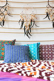Ethnic bed sheets with dreamcatchers Royalty Free Stock Photos
