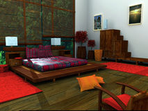 Ethnic Bedroom. 3d Bedroom royalty free illustration