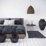 Ethnic bedroom interior background. Ethnic bedroom interior, 3d render royalty free stock photography