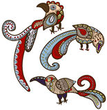 Ethnic birds. Magic birds in ethnic style give happiness Royalty Free Stock Photos