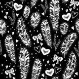 Ethnic black background with feathers. Ethnic background with feathers, hearts and stars Stock Images