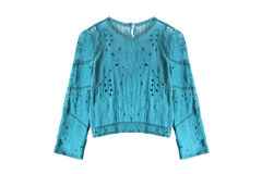 Ethnic blouse isolated. Ethnic blue lacy blouse on white background Royalty Free Stock Photos