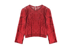 Ethnic blouse isolated. Ethnic red lacy blouse isolated over white Stock Photo