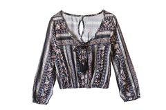 Ethnic blouse isolated. Silk ethnic long sleeves blouse on white background Royalty Free Stock Photo