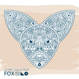 Ethnic blue head of the fox. High detailed Patterned head of the fox. Decorated Fox head. Vector Illustration. Ethnic blue head of the fox. High detailed royalty free illustration