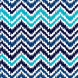 Ethnic blue and white ikat abstract geometric chevron pattern, vector stock illustration