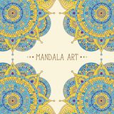 Greeting card with mandala. Ethnic boho arabic asian pattern, frame with mandalas blue and yellow colored, vector art, can be used for greeting card, invitation royalty free illustration