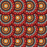 Ethnic boho floral rosettes seamless pattern Royalty Free Stock Photography