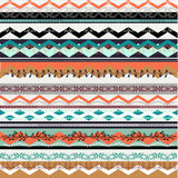 Ethnic boho seamless pattern. Colorful border background texture. Stock Images