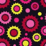 Ethnic boho seamless pattern. Decorative sun. Scribble texture. Retro motif. Stock Image