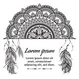 Ethnic boho template with black and white mandala, feathers and text place on white background. stock image