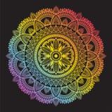 Colorful rainbow ethnic mandala on black background. Circular decorative pattern. royalty free stock photography