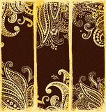 Ethnic bookmarks with gold paisley ornaments Royalty Free Stock Photo