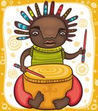Ethnic boy. Colorful portrait of the African drummer with dreadlocks Royalty Free Stock Photos
