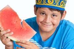 Ethnic boy with watermelon slice Royalty Free Stock Image