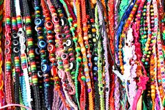 Ethnic bracelets and beads lanyard for sale Royalty Free Stock Photo
