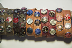 Ethnic bracelets of leather and metals. Many ethnic bracelets of leather and metals Stock Images