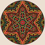 Ethnic Bright Round Ornament. Circle design element with tribal pattern in vivid colors. Kaleidoscope mandala. Symmetric round colorful geometric ornament Royalty Free Stock Photo