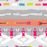 Ethnic brushsrokes seamless pattern. Pacific motif. Hand painted Royalty Free Stock Photos