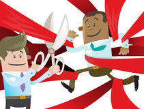 Ethnic Business Buddy is Cut Free from Red Tape. Illustration of Ethnic Business Buddy clearly very happy to be set free from the bureaucratic red tape that hes Stock Photo