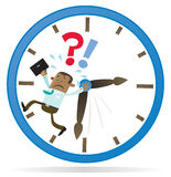 Ethnic Business Buddy is Running out of Time. Illustration of an Ethnic Business Buddy clearly very distressed as he is running out of time in his giant Royalty Free Stock Photos