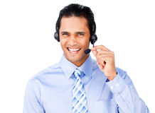Ethnic businessman with headset on Stock Image