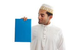 Ethnic businessman holding brochure Royalty Free Stock Photography