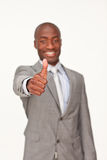Ethnic businessman with thumbs up Stock Images