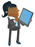 Ethnic Businesswoman Buddy with Computer Tablet. Illustration of an Ethnic Businesswoman Buddy calculating her business activities on her snazzy computer tablet Stock Photo