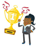 Ethnic Businesswoman Buddy wins a First Prize trop. Illustration of an Ethnic Businesswoman Buddy who has won a first prize trophy for her super skills in Stock Photography