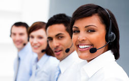 Ethnic businesswoman with headset on Stock Photos