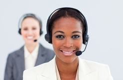 Ethnic businesswoman and her colleague Royalty Free Stock Image