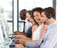 Ethnic businesswoman working in a call center Stock Photos