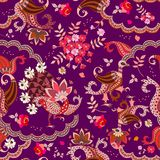 Ethnic buta floral pattern with unusual bird in vector. Mexican, indian, chinese motives.  stock illustration