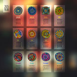Ethnic calendar 2015 year blurred design. English, Sunday start Stock Image