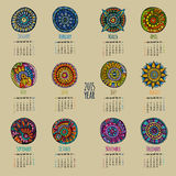 Ethnic calendar 2015 year. Design, English, Sunday start Royalty Free Stock Photography