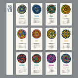 Ethnic calendar 2015 year. Design, English, Sunday start Stock Photo