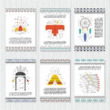 Ethnic cards. Arrows, Indian elements, Aztec borders and embellishments. Stock Images