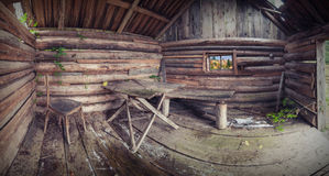 Ethnic Carpathian house. Panorama of old rustic wooden house. View from inside Stock Images