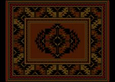 Ethnic carpet with vintage ornament in maroon and brown shades Stock Photos