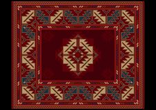 Ethnic carpet with vintage ornament in red and maroon shades Stock Photo